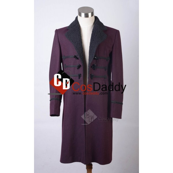 Doctor Who Eleventh 11th Doctor Horn Button Purple Wool Frock Coat
