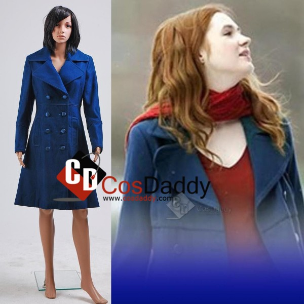 Doctor Who Eleventh 11th Doctor  Amy Pond Teal Wool Trench Coat Cosplay Costume
