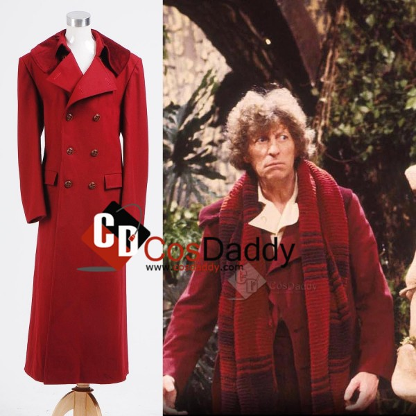 Doctor Who fourth 4th Doctor Dark Red Long Trench Wool Coat Cosplay Costume