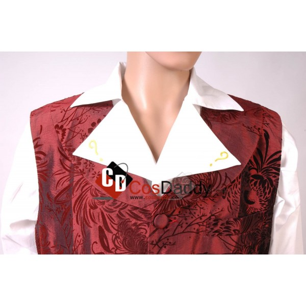 Doctor Who fourth 4th Doctor  Dark Red Vest Pants Shirt Set Cosplay Costume