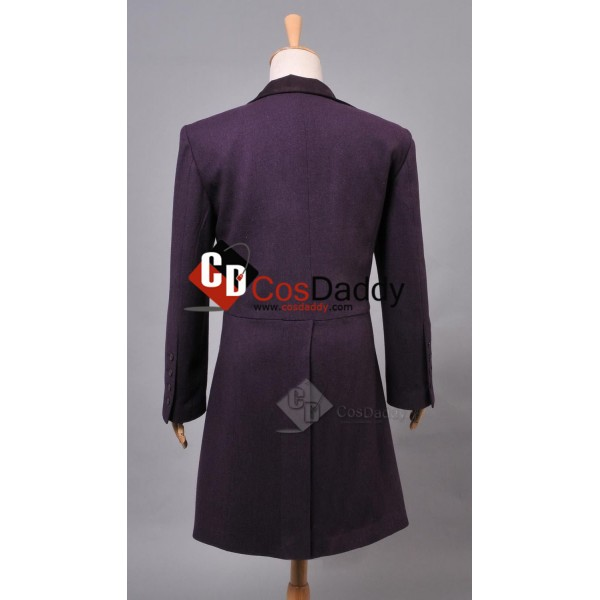 Doctor Who Eleventh 11th Doctor Buttonless Purple Wool Frock Coat Costume