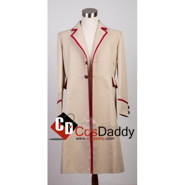 Doctor Who fifth 5th Dr Red Stripe Beige Coat Cosp...
