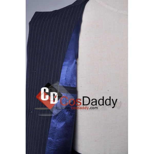 Doctor Who Tenth 10th Doctor Blue Pinstripe Suit Cosplay Costume