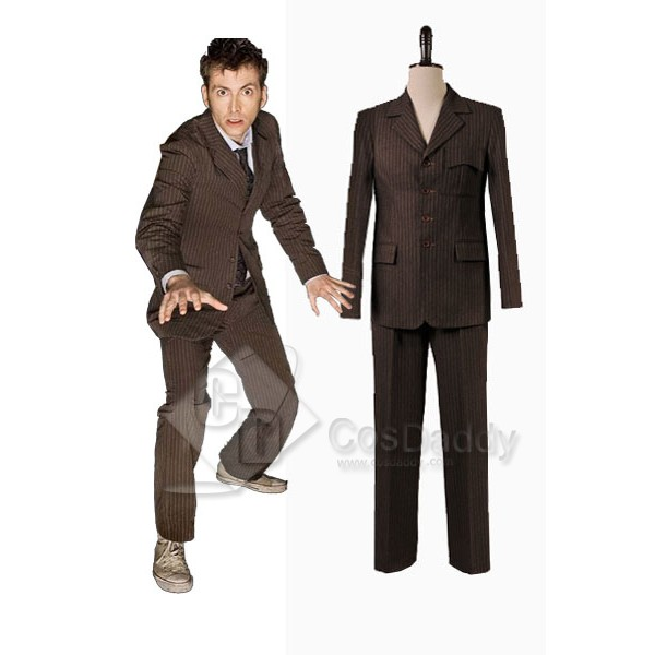 Doctor Who Ten 10th Doctor Brown Pinstripe Wool Suit Costume