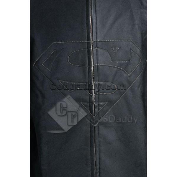 Smallville Clark Kent Black Leather Jacket Cosplay Costume