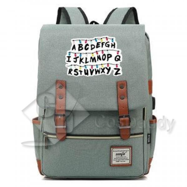 Stranger Things Backpack College School Bag Laptop Daypack(Black USB)