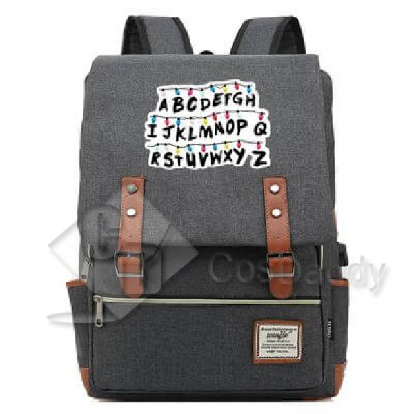 Stranger Things Backpack College School Bag Laptop Daypack(Black USB)