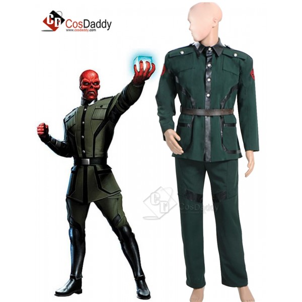 Captain America Red Skull Pants Dark Green Uniform...