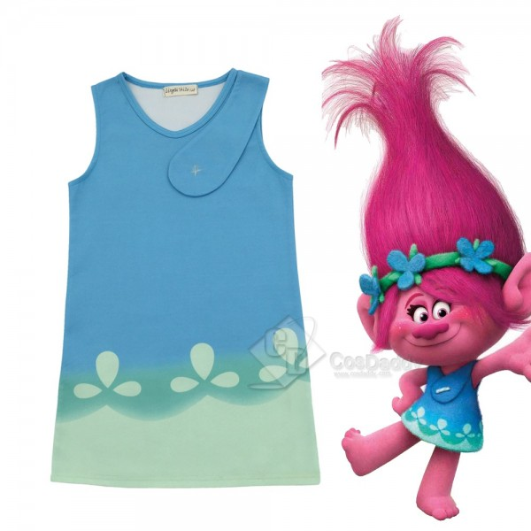 Trolls Poppy Blue Dress for girls cosplay