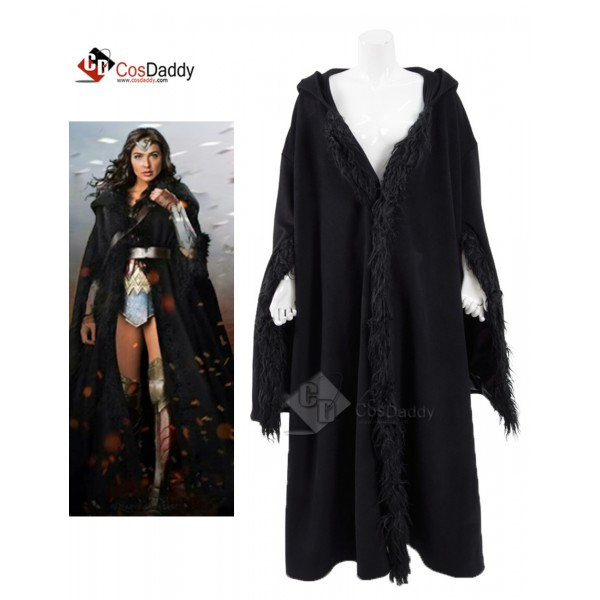 Wonder Woman Diana Princess Black Cloak Cosplay Co...