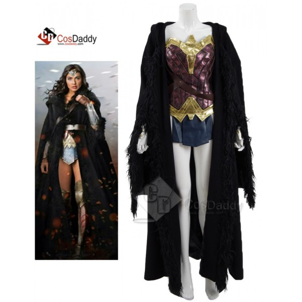 CosDaddy Wonder Woman Diana Prince Battle Suit + Black Cloak Cosplay Costume