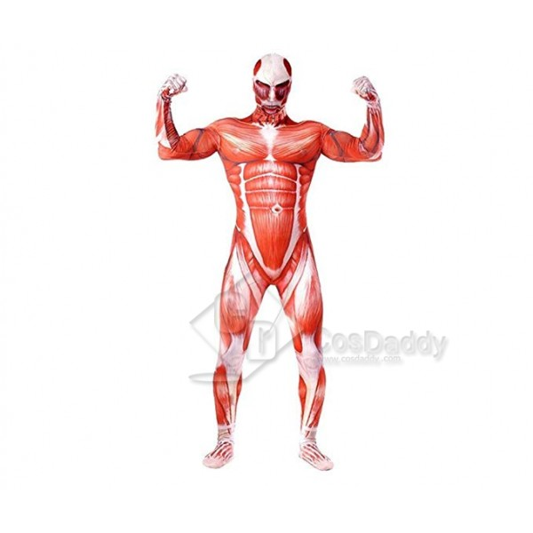 Mens Zentai Cosplay Costume Shingeki No Kyojin Muscle Man Jumpsuit Bodysuit